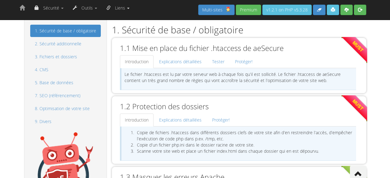 Dashboard aeSecure
